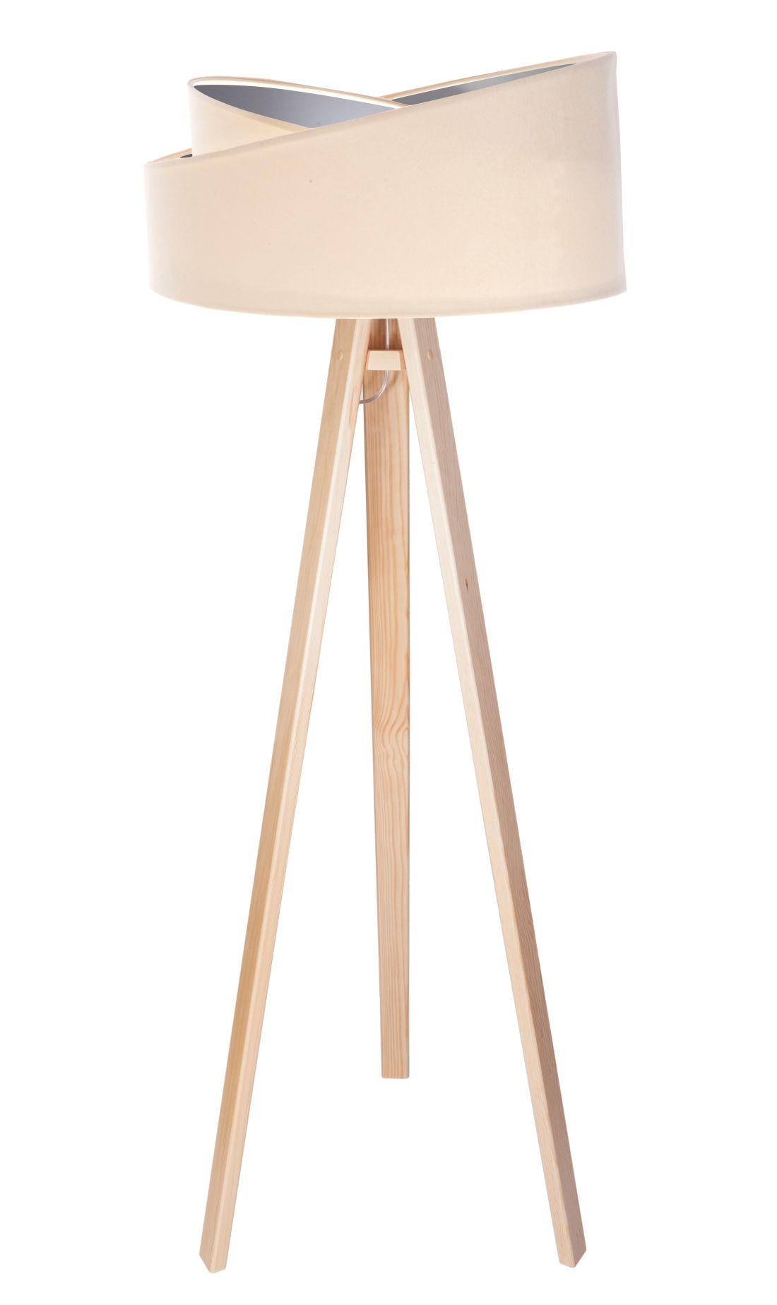 Stehlampe Holz Creme Silber Dreibein 145cm Wohnzimmer