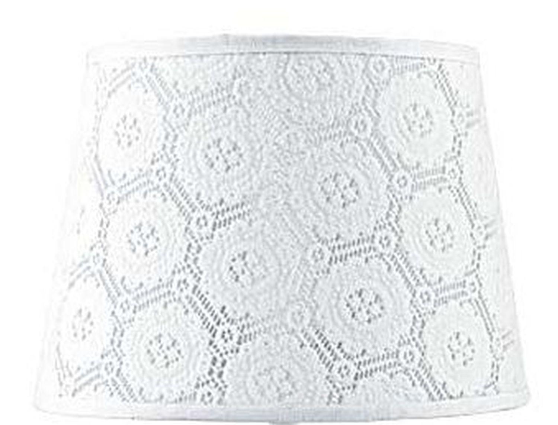 Lampenschirm Weiß Spitze Textil für E14 Tischlampe