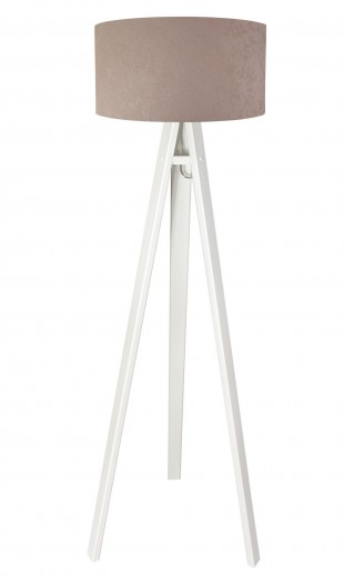 Stehlampe Beige Weiß Holz 140cm Retro Wohnzimmer