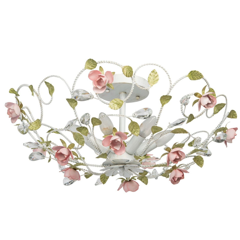 Florale Deckenleuchte Keramik Blumen rund Ø62cm