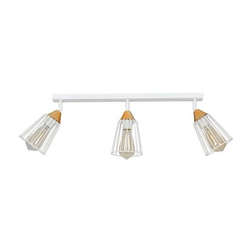 Deckenlampe Draht Käfig Weiß Kupfer 3-flammig E27