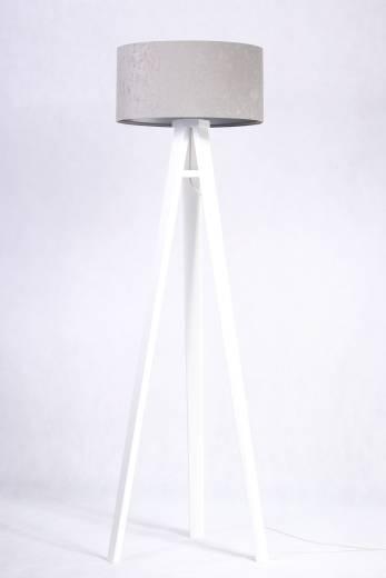 Stehlampe Holz Grau Silber Dreibein 145cm Retro