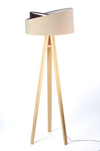 Stehlampe SONYA 145cm Beige Braun Holz Wohnzimmer