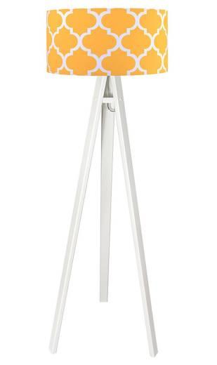 Stehlampe Weiß Holz Retro Dreibein 140cm Wohnzimmer
