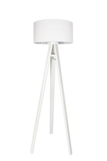 Stehlampe Holz Weiß Wohnzimmer Leuchte Dreibein Retro