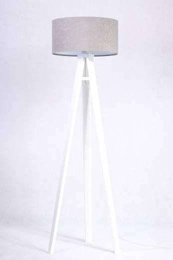 Stehleuchte Holzbeine Grau Weiß rund 140cm Retro