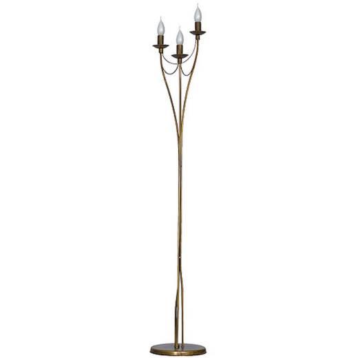 Goldene Stehlampe Metall 3-flammig 164cm Wohnraum