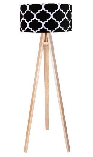 Stehlampe Holzgestell Braun Schwarz Retro 140cm