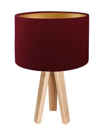 Holz Tischleuchte Bordeaux Gold Retro 46cm Lampe
