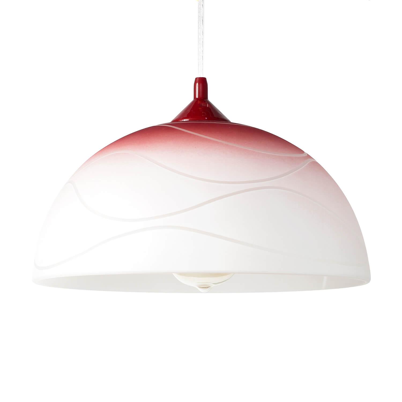 Pendelleuchte Glas Rot Weiß rund Retro Küche Esstisch