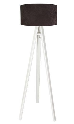 Standleuchte Braun Weiß Holz Dreibein 140cm Retro