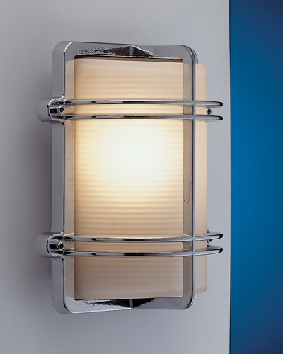 LED Außenwandleuchte Chrom Maritim IP54 Eingang
