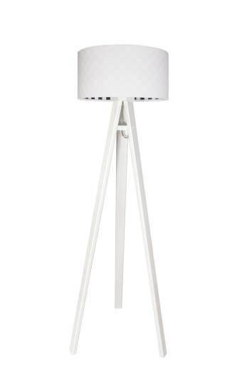 Stehlampe Weiß Schwarz Stoff140cm Dreibein Retro