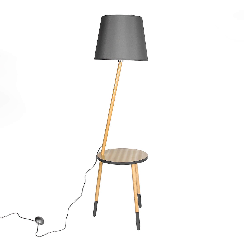 Stehlampe Holz Stoff Grau LAMA