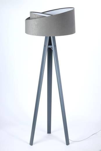 Stehlampe Grau Weiß Dreibein 145cm Wohnzimmer Holz