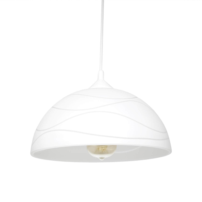 Weiße Pendelleuchte Esstisch Glas Wohnzimmer