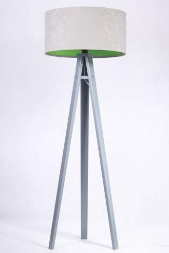 Stativ Stehlampe Holzleuchte Grau Grün Wohnzimmer