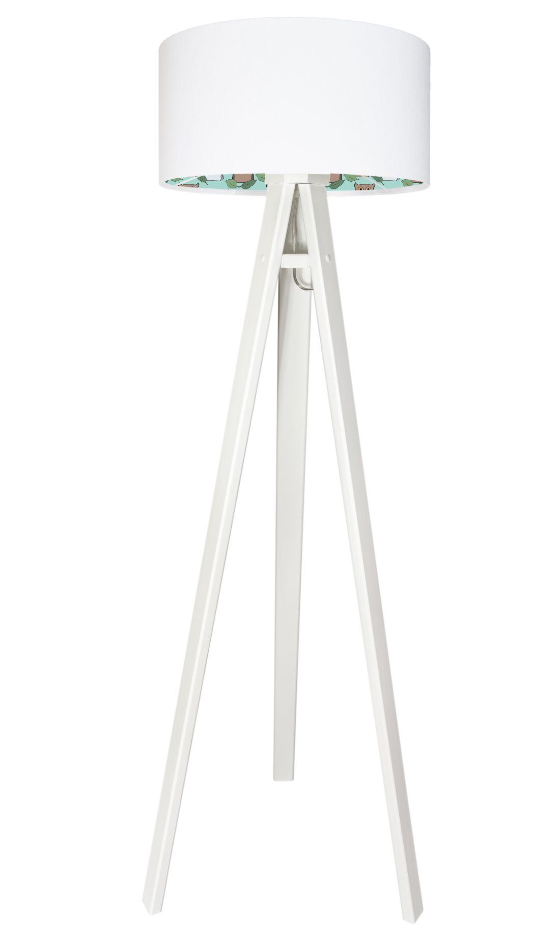 Dreifuß Stehlampe Holz Weiß gepunktet Kinder