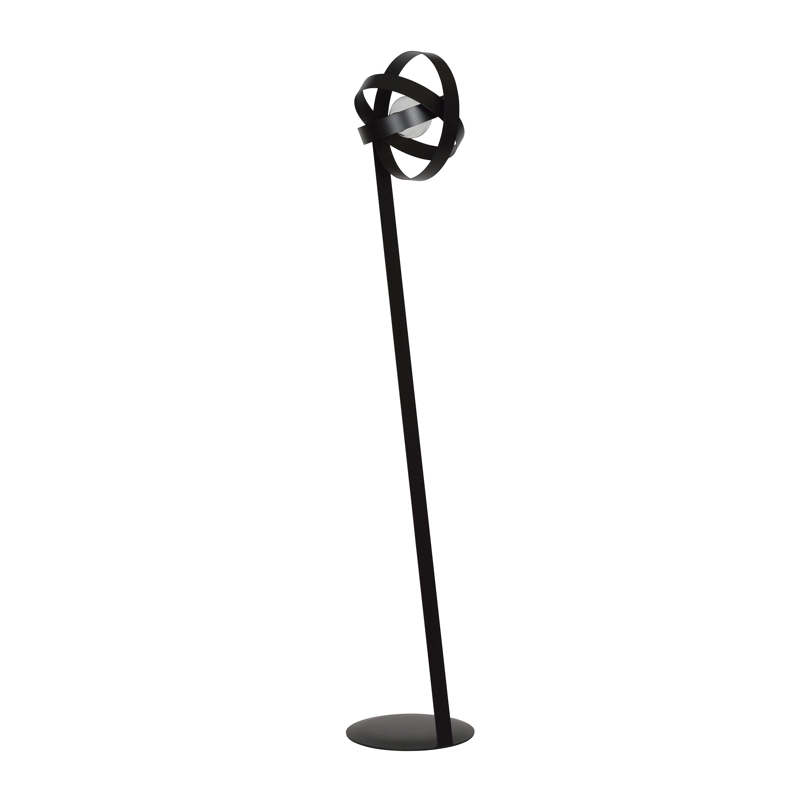 Stehlampe Schwarz Design Schirm Metall Wohnzimmer