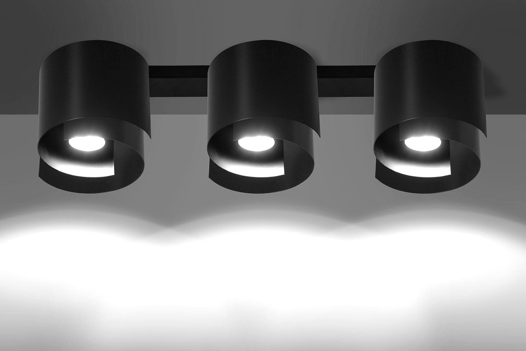 Deckenlampe Schwarz Metall Design rund 3x GU10