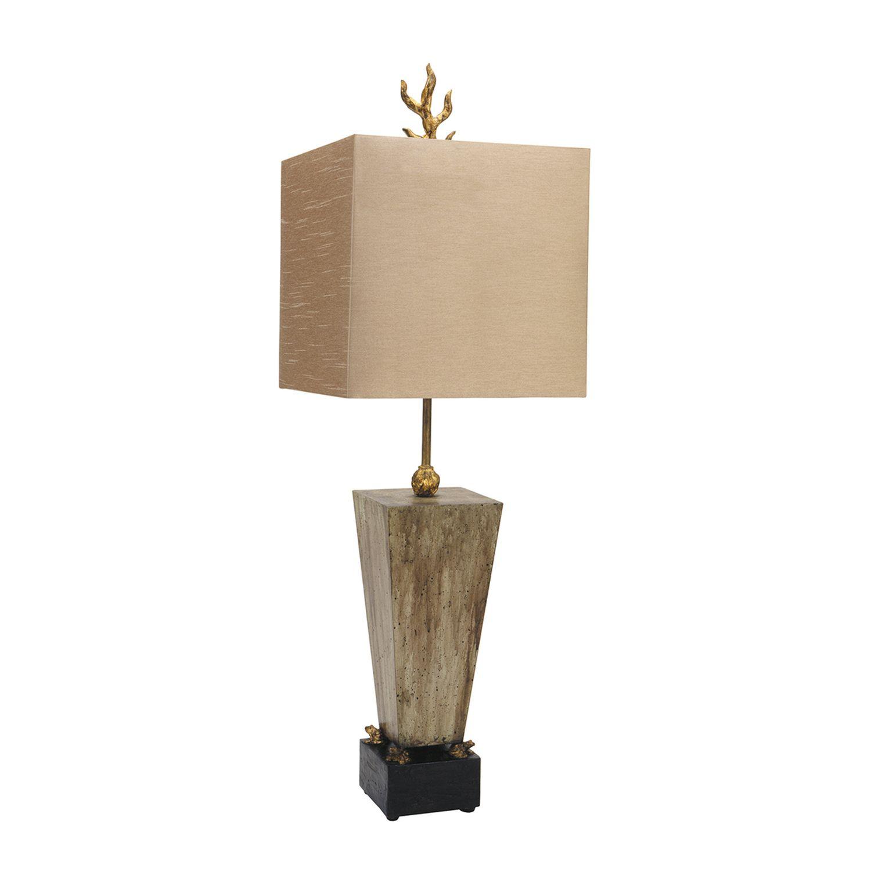 Tischlampe TILO Blattgold Braun Beton 79cm Lampe