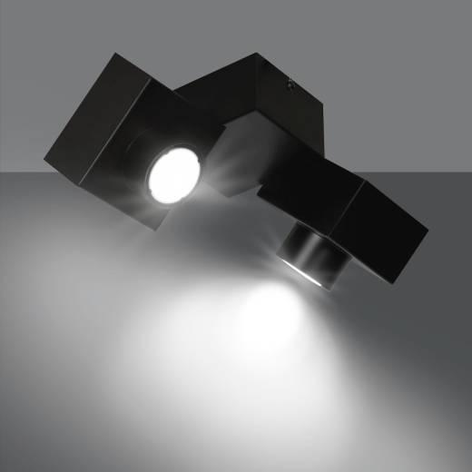 Deckenlampe Schwarz Metall eckig Design 2-flammig