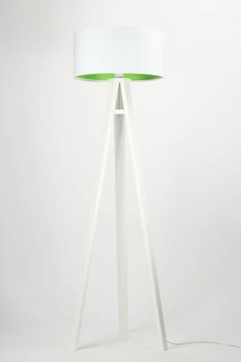 Stehlampe Weiß Grün Holz 140cm Retro Wohnzimmer