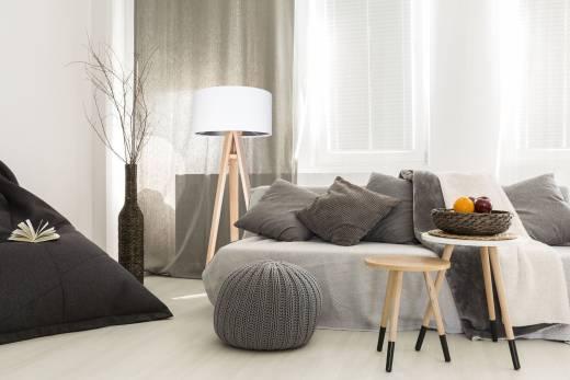 Holz Stehlampe Weiß Silber 140cm Retro Wohnzimmer