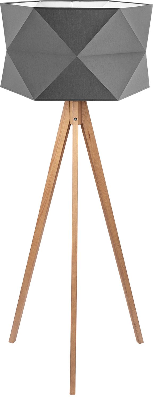 Stehlampe in Graphit Holz Stoff 140cm Wohnzimmer