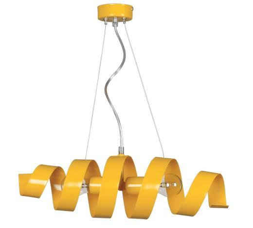 Hängeleuchte Gelb Spirale höhenverstellbar 2x E27