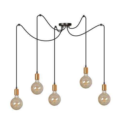 Pendelleuchte Schwarz minimalistisch 5-flammig E27