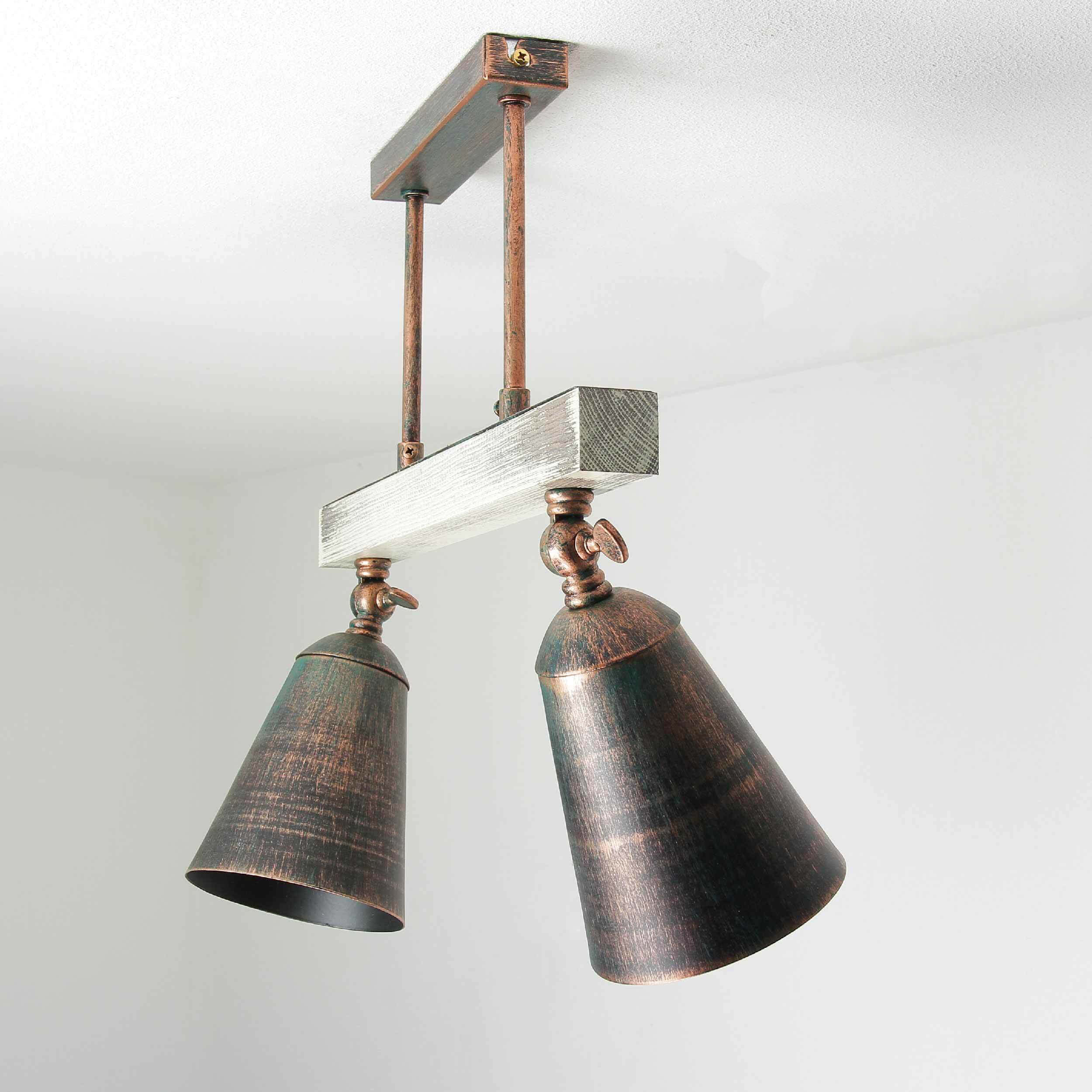 Strahler in Kupfer Metall Holz E27 Wohnzimmer Decke