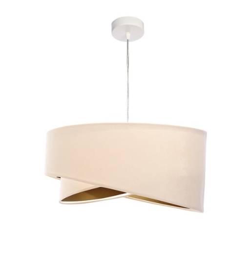 Pendelleuchte Esstisch Creme Gold Stoff Lampe