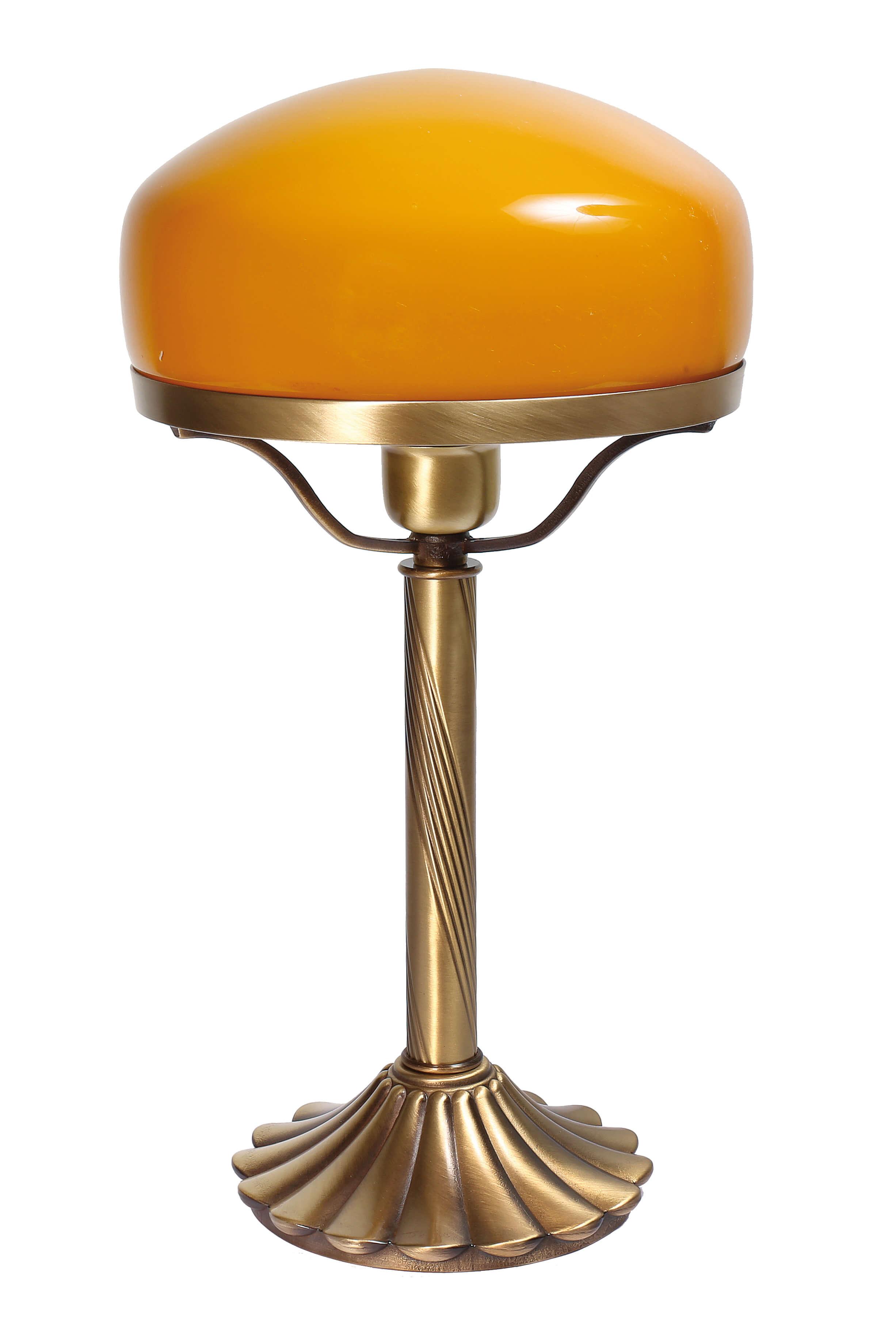 Echte Messing Tischleuchte Orange Glas Schirm