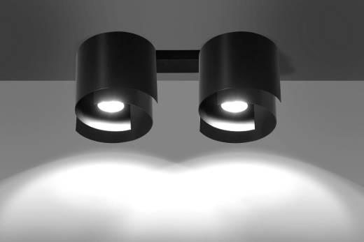 Deckenlampe Schwarz Metall Design rund 2x GU10