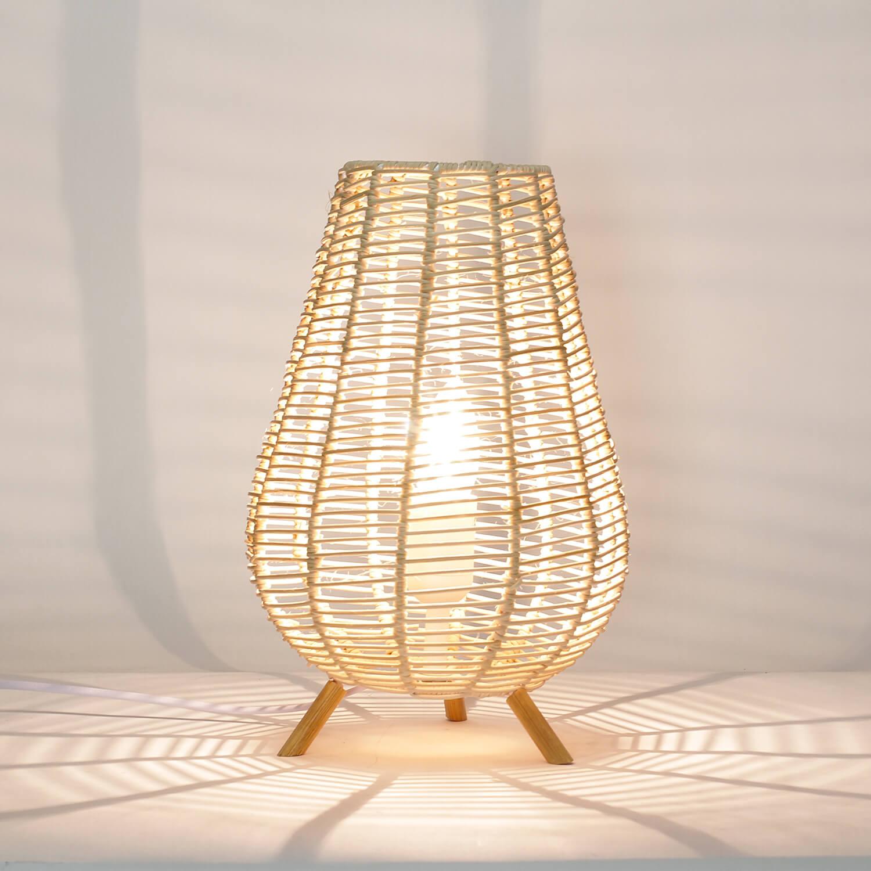 Boho Tischlampe Korb Geflecht 29cm dekorativ NATHYE