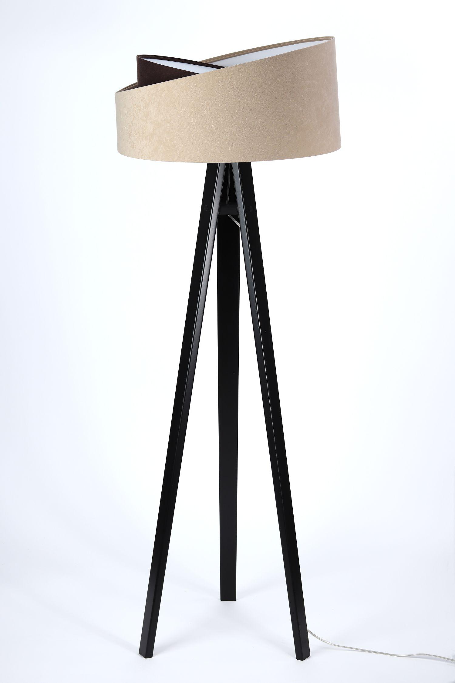 Stehlampe SONYA Beige Braun Holz 145cm Wohnzimmer