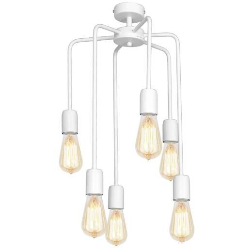 Deckenlampe Wohnzimmer Weiß Retro Metall 6-flmg