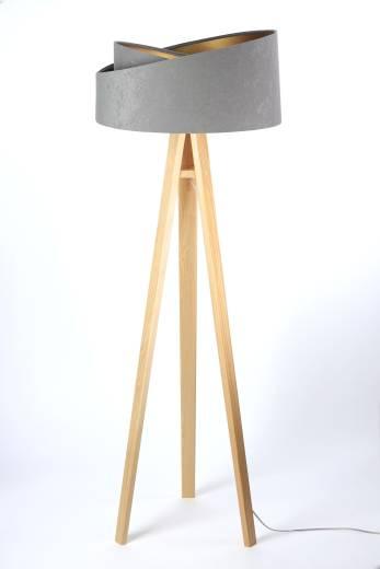 Stehlampe Holz Grau Gold Dreibein 145cm Wohnzimmer