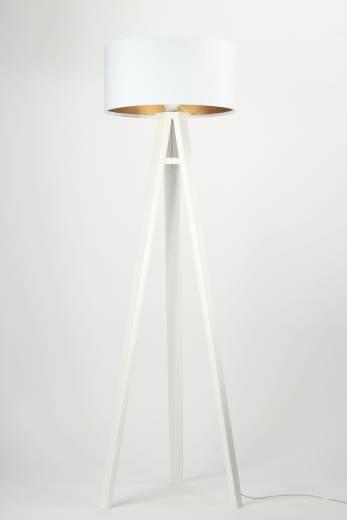Stehleuchte Holzlampe Weiß Gold Wohnzimmer Dreibein