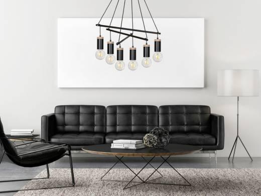 Pendellampe Schwarz Retro minimalistisch 6-flammig