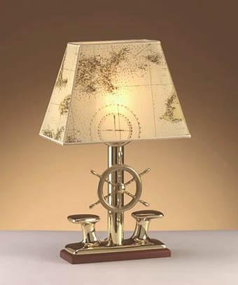 Edle Tischlampe NAUSICA Messing H:53cm Maritim