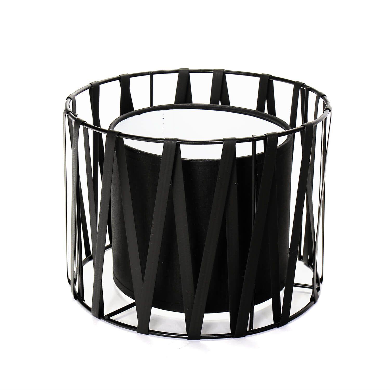 Lampenschirm für Tischleuchten E27 Ø18cm Schwarz MINA
