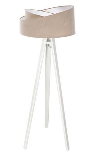 Stehlampe Großem Schirm Beige Weiß Holz Dreibein 145cm