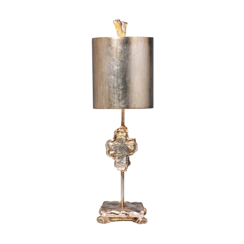 Designer Tischlampe Blattsilber Stoff 58cm kunstvoll