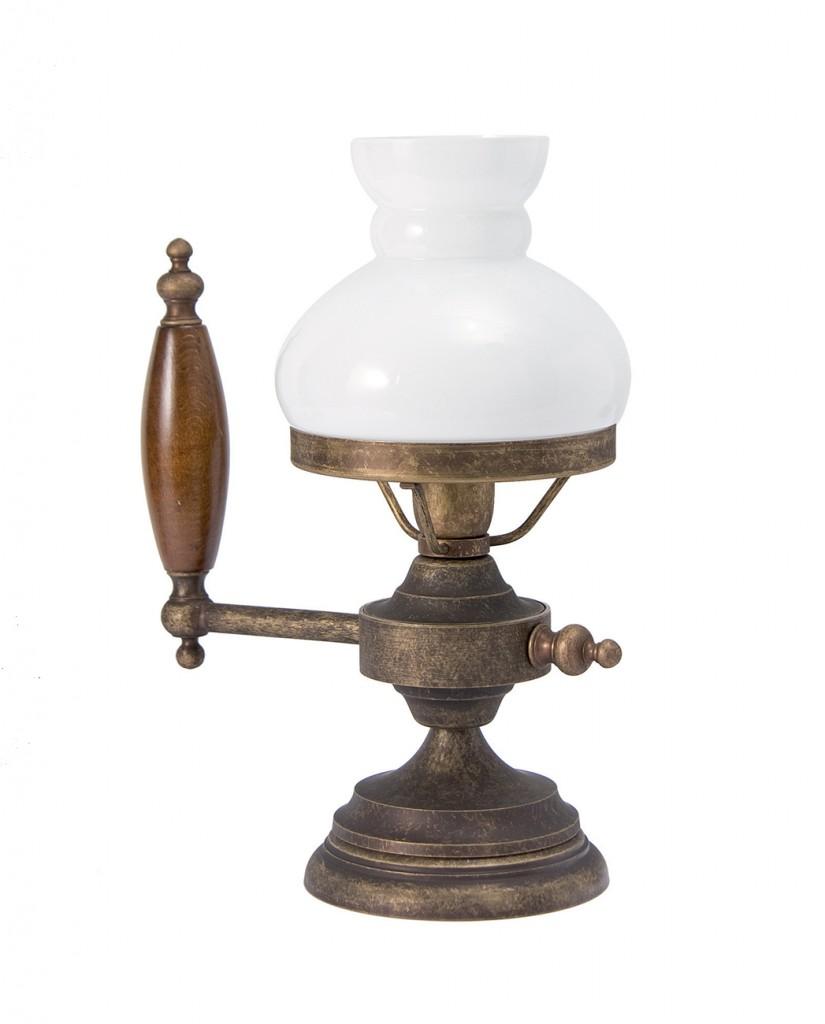 Tischlampe Glasschirm mit Deko-Griff aus Messing