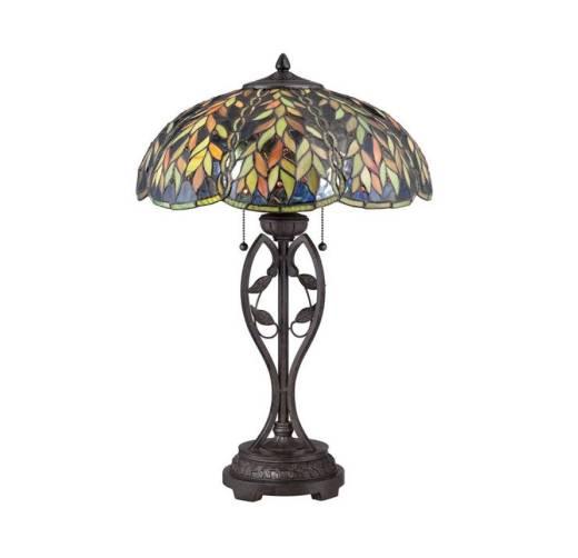 Tiffany Tischlampe Zugschalter Buntglas 65cm hoch