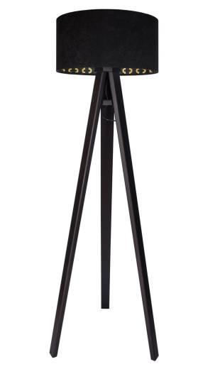 Standleuchte Schwarz Gold Holz 140cm Dreibein Retro