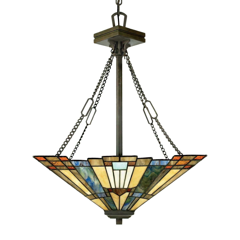 Elegante Tiffany Pendelleuchte Buntglas kürzbar