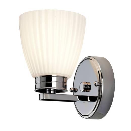 LED Badezimmerleuchte Riffelglas IP44 in Chrom Weiß